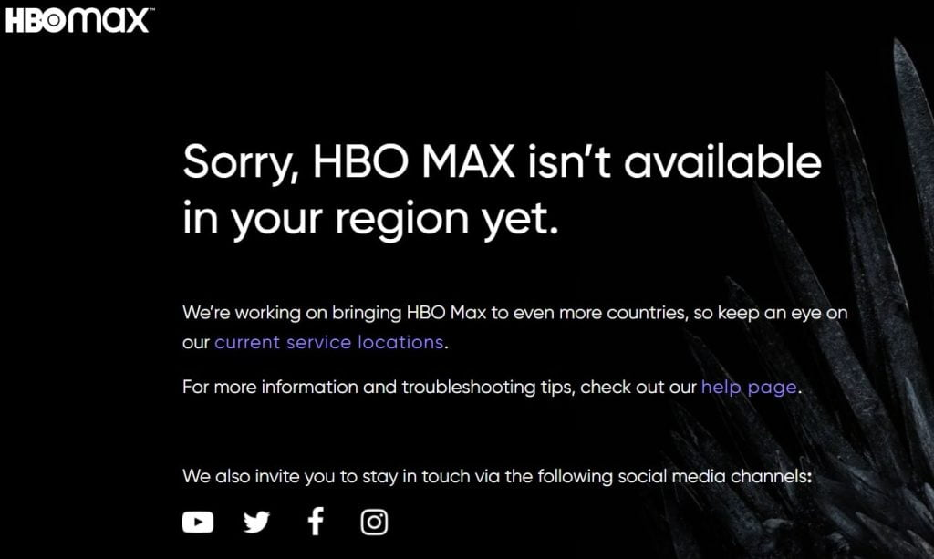 HBO error screen