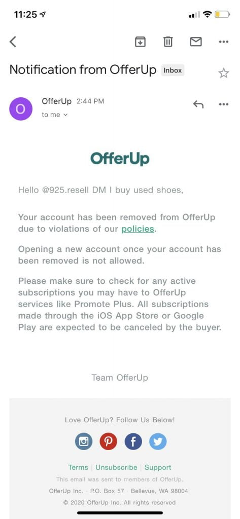 Offerup banned message